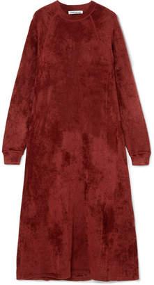 Elizabeth and James Lafayette Crushed-velvet Midi Dress - Burgundy