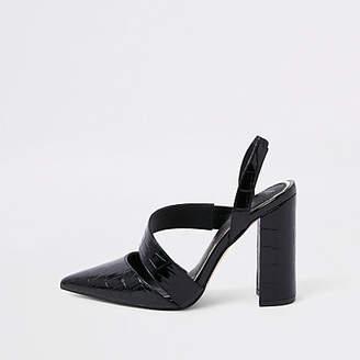 River Island Black croc asymmetric block heel pumps