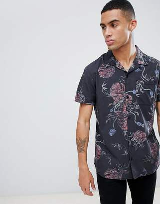 Jack and Jones Originals Short Sleeve Revere Collar Shirt In All Over Print