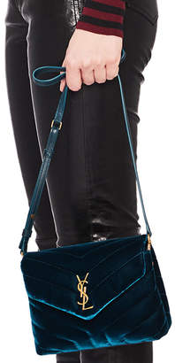 Saint Laurent Toy Velvet & Leather Monogramme Loulou Strap Bag