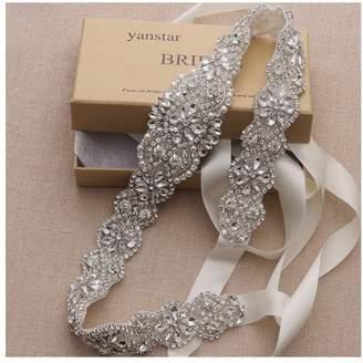 yanstar Bridal Belt for Wedding Dress Crystal Rhinestone Applique Beaded On Wedding Belt Sash