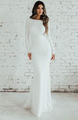 Katie May Noel and Jean by Wasson Cowl Back Crepe Gown