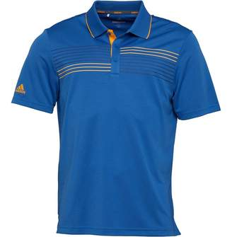 adidas Mens Golf Essentials Textured Tipped Polo Trace Royal/Real Gold