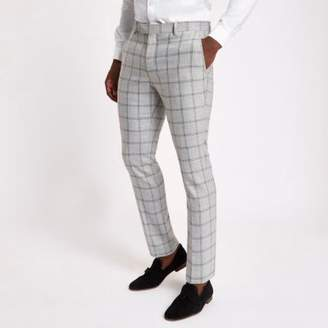River Island Grey check stretch skinny fit suit pants