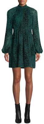 A.L.C. Nadia Animal-Print Velvet Burnout Dress