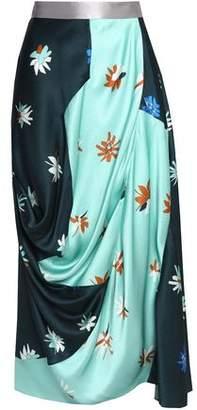 Roksanda Draped Floral-Print Silk And Cotton-Blend Cloqué Skirt