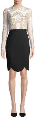 Catherine Deane Latisha Long-Sleeve Dress w/ Lace & Ponte
