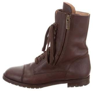 Manolo Blahnik Cap-Toe Combat Boots