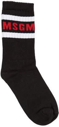 MSGM Logo Cotton Jacquard Knit Socks