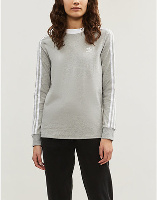 adidas 3-stripes embroidered-logo cotton-jersey top