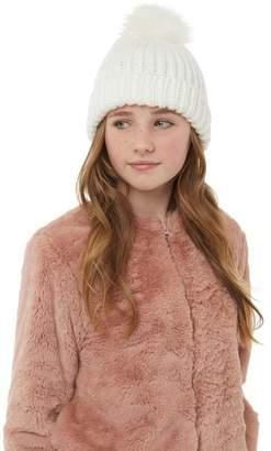 Board Angels Girls Rib Hat With Faux Fur Pom-Pom Winter White