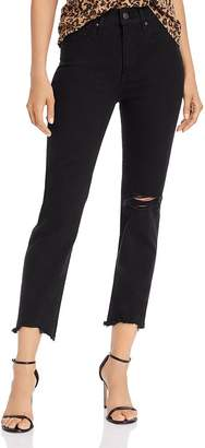 Levi's 724 High-Rise Cropped Straight-Leg Jeans in Black Pixel
