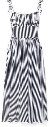MDS Stripes - Charlotte Gathered Striped Cotton-jersey Midi Dress - Navy