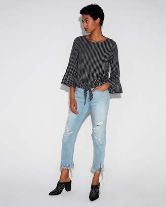 Express Gingham Ruffle Sleeve Tie Front Shirt