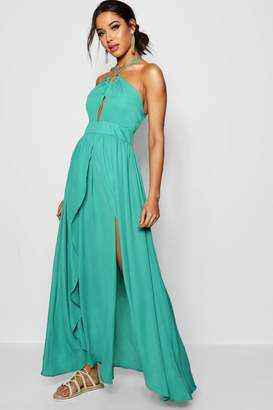 boohoo Rose Split Front Halterneck Maxi Dress