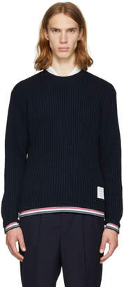 Thom Browne Navy Chunky Crewneck Stripe Sweater