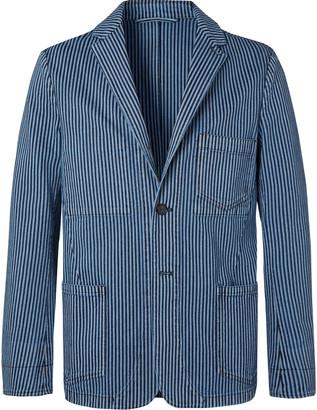 Officine Generale Indigo Striped Cotton Blazer