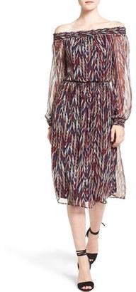 Ella Moss 'Ansel' Print Silk Off the Shoulder Midi Dress $258 thestylecure.com