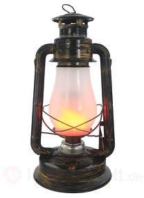 Altmessingfarben lackierte LED-Dekoleuchte Lantern
