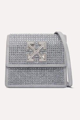 Off-White Jitney 0.7 Crystal-embellished Suede Shoulder Bag - Silver