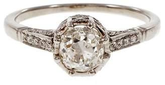 Platinum Old Mine Cushion Cut Diamond Engagement Ring Size 7