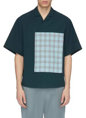 FFIXXED STUDIOS Tartan plaid pocket appliqué short sleeve shirt