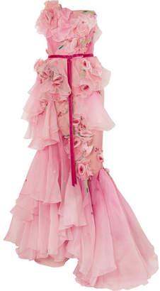 Marchesa Strapless Appliqué Ombré Organza Gown - Pink
