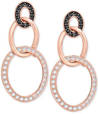 Swarovski Crystal Pave Triple Ring Drop Earrings