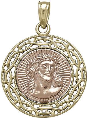 FINE JEWELRY Tesoro 14K Two-Tone Gold Jesus Medallion Pendant