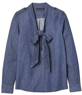 Banana Republic Petite Tie-Neck Denim Shirt