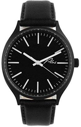 Plus WatchesクラシックレザーWatch inブラックandブラックレザー