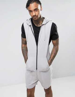 ASOS Sleeveless Hooded Short Onesie In Gray $45 thestylecure.com