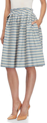 Jil Sander Navy Stripe Gathered Skirt