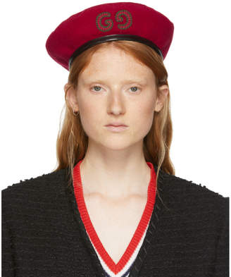 Gucci Red GG Patch Beret