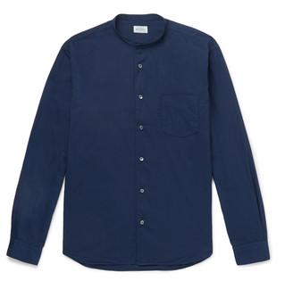 Hartford Grandad-Collar Cotton Shirt - Men - Blue