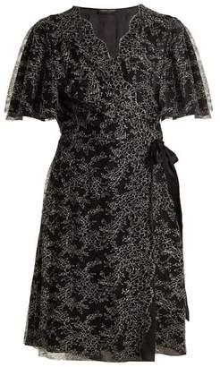 Carine Gilson - Floral Lace Embroidered Silk Wrap Dress - Womens - Black