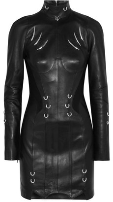 Mugler - Embellished Leather Mini Dress - Black $5,500 thestylecure.com