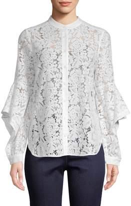 BCBGMAXAZRIA Women's Floral Lace Shirt
