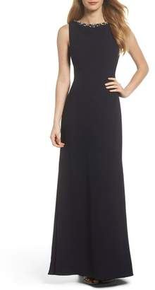 Vince Camuto Embellished Ruffle Back Crepe Gown