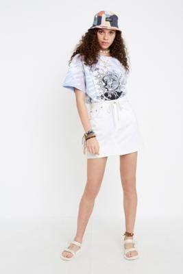 BDG Austin White Notched Denim Mini Skirt