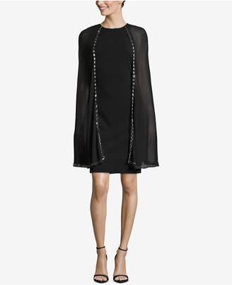 Betsy & Adam Beaded-Cape Sheath Dress
