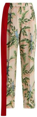 Stella McCartney Palm Print Silk Trousers - Womens - Pink Print
