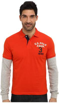 U.S. Polo Assn. Long Sleeve Slim Fit Polo and Thermal Hang Down Men's Long Sleeve Pullover