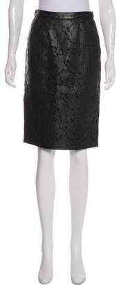 Burberry Laser Cut Leather Skirt