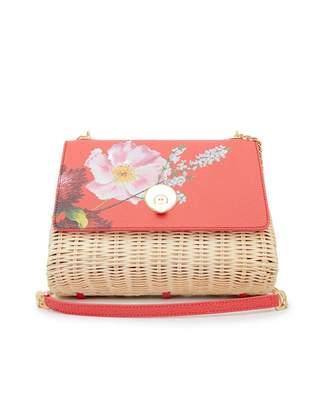Ted Baker Elaaine Berry Sundae Print Straw Crossbody Bag Colour: BRIGH