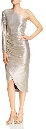 Aidan Mattox Foiled Jersey One-Shoulder Dress