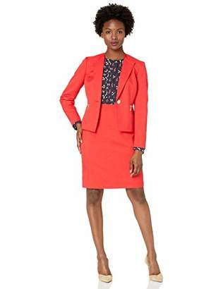 Le Suit Women's Plus Size 1 Button Zipper Pocket Glazed Melange Skirt Suit