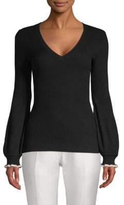 BCBGMAXAZRIA Ruffled Bishop-Sleeve Sweater
