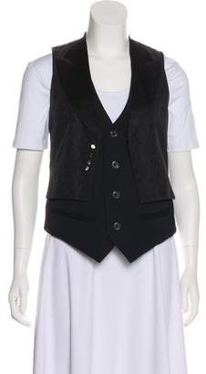 Marc Jacobs Silk-Blend Layered Geometric Jacquard Suit Vest