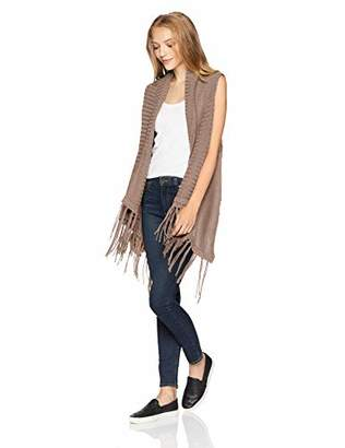 Silver Jeans Co. Women's Cable Knit Sweater Vest with Fringe